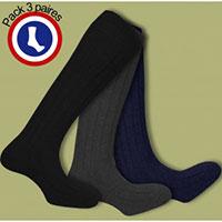 Pack pur coton chaussettes Perrin (marron - bleu marine - kaki)