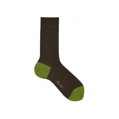 Chaussettes laine taupe-vert