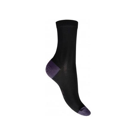Chaussettes en soie noir-raisin-Berthe aux grands pieds