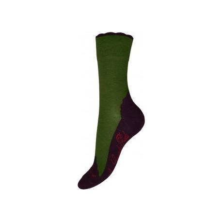 Chaussettes cachemire vert-Berthe aux grands pieds