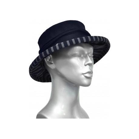 Chapeau en fil décosse gris-marine-Berthe aux grands pieds