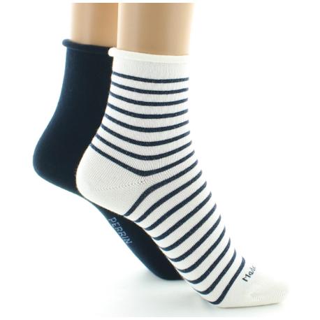 343 Coton lurex mélangé Lot de 2 paires de chaussettes courtes Perrin